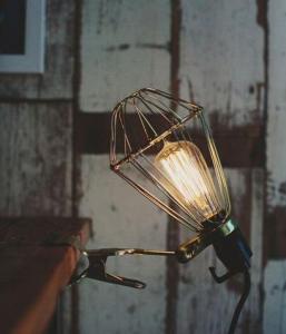 lampara pinza con bombilla filamento de carbon
